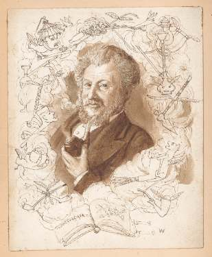 Sketch depicting William Bragge (1823-1884) with pipe in hand, surrounded by pipes and smoking apparatus, captioned 'Tobaccologia William Bragge F.S.A.