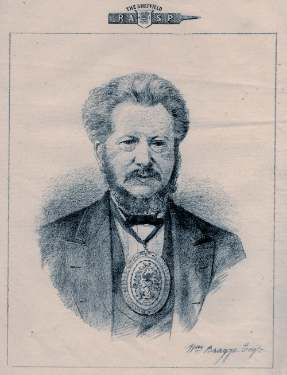 Illustration of William Bragge (1823-1884), pictured wearing the badge of the Master Cutler