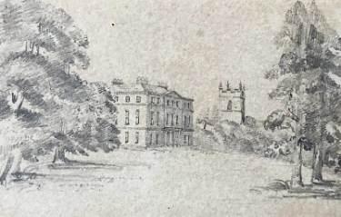 Norton Hall and St James church, Norton drawn by L. Shore, c. 1815 - 1846