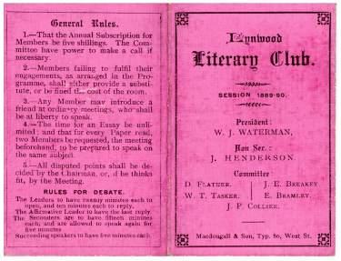 Lynwood Literary Club programme card (cover), 1889 - 1890