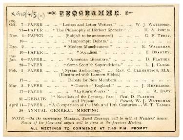 Lynwood Literary Club programme card, 1889 - 1890