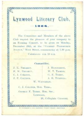 Lynwood Literary Club, invitation to an evening concert (cover)