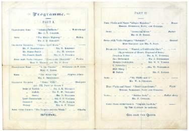 Lynwood Literary Club, evening concert programme