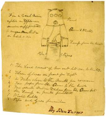 Drawing of safety suit for miners by John Turner and John Turner junior, Wentworth