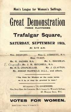 Men's League for Women's Suffrage.  Great demonstration in Trafalgar Square [London], [1897]
