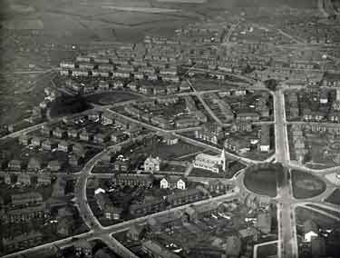 Aerial view of Manor Estate showing (centre) St. Swithun C. of E. Church, No. 2 Cary Road
