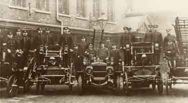 Sheffield Firemen and display of fire engines at unidentified fire station