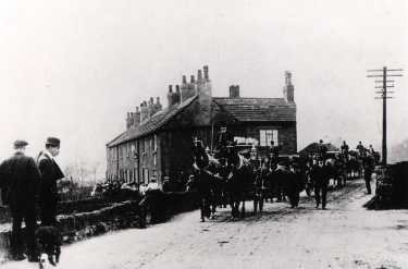 Horse drawn hearse at unidentified location