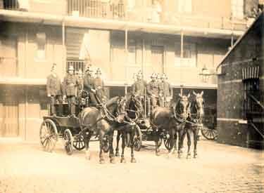 City of Sheffield Fire Brigade. Firemen aboard horse drawn fire engines, Rockingham Street Fire Station
