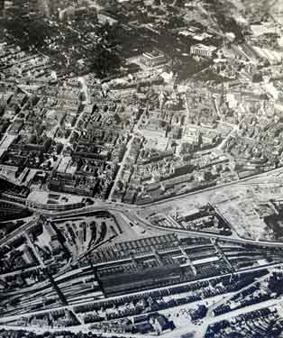 Aerial view of City Centre showing foreground) Midland Station and Sheaf Square