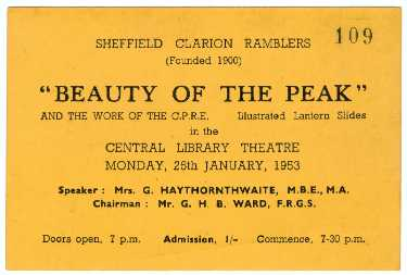 Sheffield Clarion Ramblers 'Beauty of the Peak and the work of the CPRE', entrance ticket