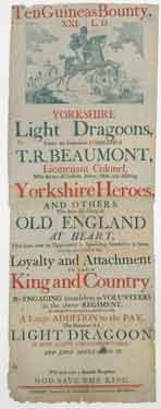 Recruiting poster for the Yorkshire Light Dragoons, c. 1800