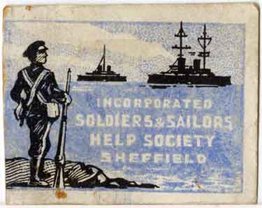 World War One pin badge - Incorporated Soldiers and Sailors Help Society, Sheffield (front)