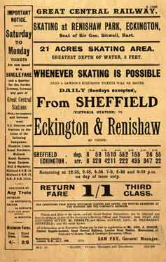 Great Central Railway: poster advertising Dean and Dawson's excursions to go skating at Renishaw Park, Eckington, c. 1900