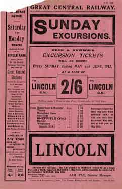 Great Central Railway: poster advertising Sunday excursions to Lincoln