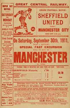 Great Central Railway: poster advertising special fast excursion to Sheffield United v Manchester City