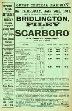 Great Central Railway: poster advertising Dean and Dawson�s express excursion to Bridlington, Filey and Scarborough