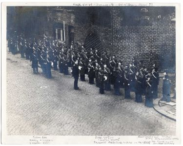 ARP Ambulance Station at Corporation Street, with large group of ambulance drivers (mostly female) lined up outside, c. 1939
