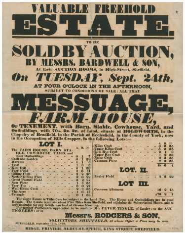 Bill advertising the sale by auction of the farm and land of Ellis Crapper, of Holdworth, in the chapelry of Bradfield