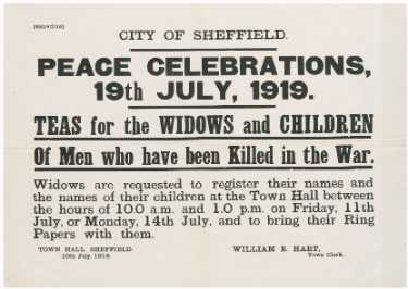 Sheffield Peace celebrations, teas for widows and children