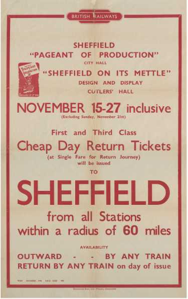 British Railways poster advertising tickets to Sheffield's Pageant of Production (and Sheffield on its Mettle exhibition)