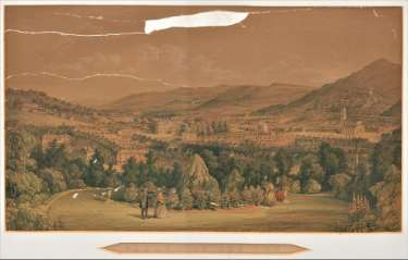 Valley of the Don, by William Ibbitt: An artist's impression of the Upper Don Valley, showing the housing, St. Philip's Church, the Infirmary, growing industry and surrounding countryside