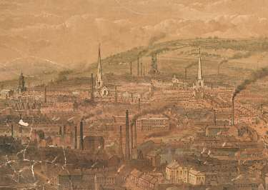 Detail from South East View of Sheffield respectfully inscribed to Alderman Thomas Dunn esquire by his faithful servant William Ibbitt
