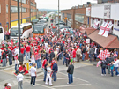 View: a00296 Sheffield United fans gathering at a pub just outside Wembley Stadium before the Championship play-off final against Burnley
