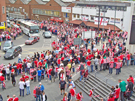 View: a00299 Sheffield United supporters gathering outside Wembley Stadium before the Championship play-off final against Burnley