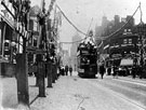 View: s00073 Tram No. 3, Electric double-decker, Pinstone Street (decorated for royal visit of King Edward VII)