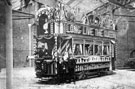 View: s00435 Illuminated tram for Royal Visit of King Edward VII outside tram sheds at Tinsley
