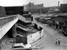 New Sheaf Market under construction, old Sheaf Market on right, Hyde Park and Park Hill Flats in background