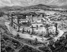 Black and white reproduction of oil painting by Kenneth Steel of Sheffield Castle as imagined from historical records