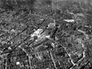 View: s12334 Aerial View -City Centre, including Town Hall and St. Paul's Church, Pinstone Street, City Hall (under construction), Barker's Pool, Central Telephone Exchange, West Street and Leopold Street, note construction of Central Library, Surrey Street
