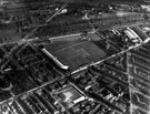 View: s12356 Aerial View - Bramall Lane Football and Cricket Ground, Denby Street Nursery in foreground, St. Mary's Church and Britannia Brewery, left, Hill Street and Anchor Brewery, right, Shoreham Street in background