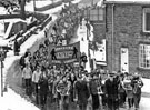 View: s22970 Protest march by striking steelmen through Stocksbridge during the steel strike of 1980