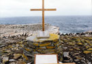 Memorial Cairn and Plaque, Sea Lion Island, Falkland Islands: In Loving Memory of the Brave Men of HMS Sheffield who were killed in action off the Falkland Islands on the 4th May 1982