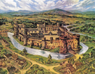 View: v04204 Oil painting by Kenneth Steel of Sheffield Castle as imagined from historical records